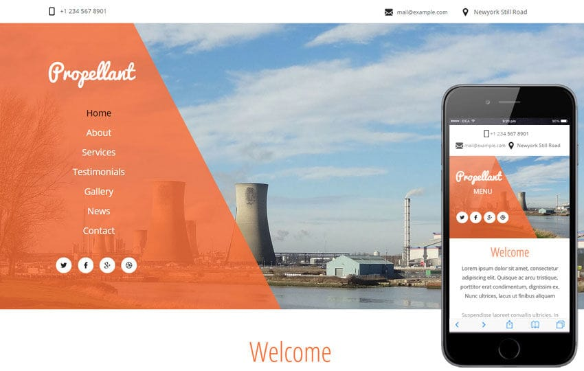 Propellant a Industrial Category Flat Bootstrap Responsive Web Template Mobile website template Free