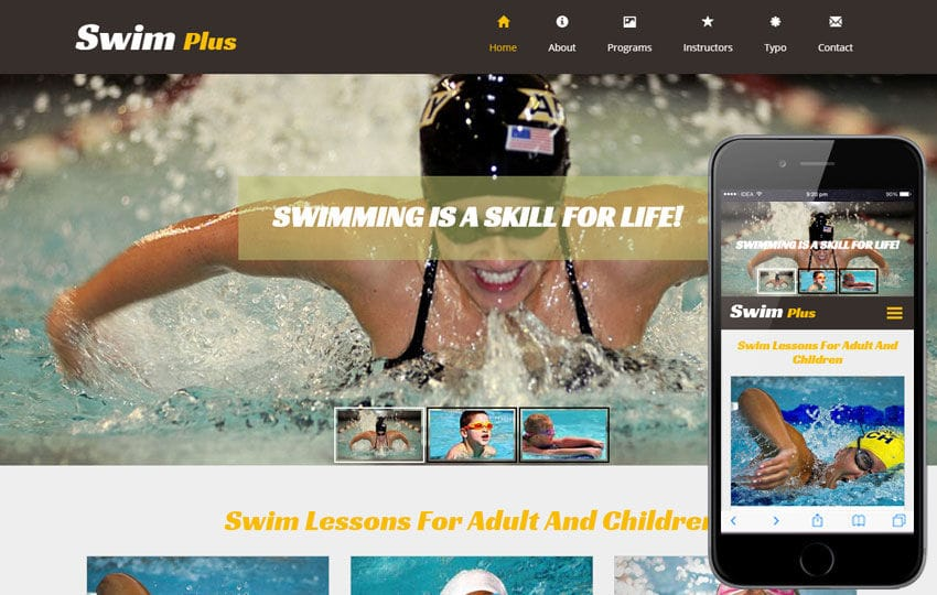 Swim Plus a Sports Category Flat Bootstrap Responsive Web Template