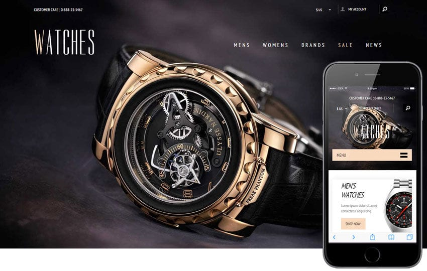 Watches a Flat Ecommerce Bootstrap Responsive Web Template Mobile website template Free