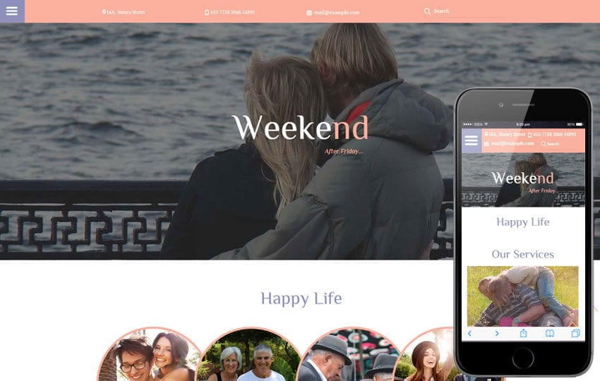 Weekend a People Category Flat Bootstrap Responsive Web Template Mobile website template Free