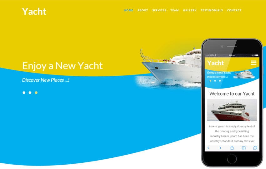 Yacht a Transport Category Flat Bootstrap Responsive Web Template Mobile website template Free