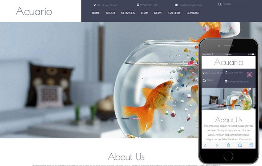 Acuario a Animal Category Flat Bootstrap Responsive web template