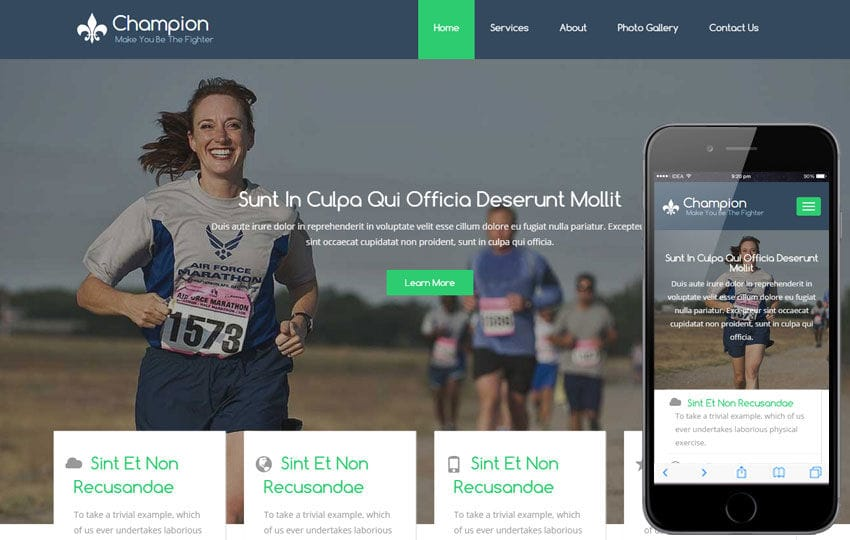 Champion a Sports Category Flat Bootstrap Responsive Web Template Mobile website template Free