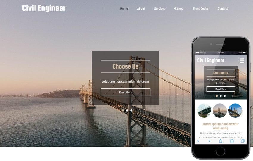 Civil Engineer a Industrial Category Flat Bootstrap Responsive Web Template Mobile website template Free