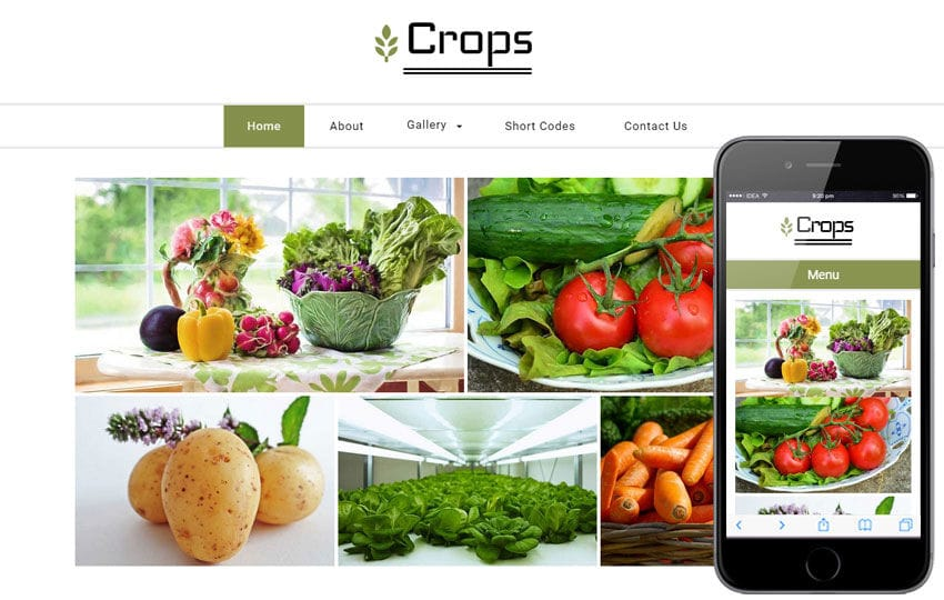 Crops a Agriculture Category Flat Bootstrap Responsive Web Template Mobile website template Free