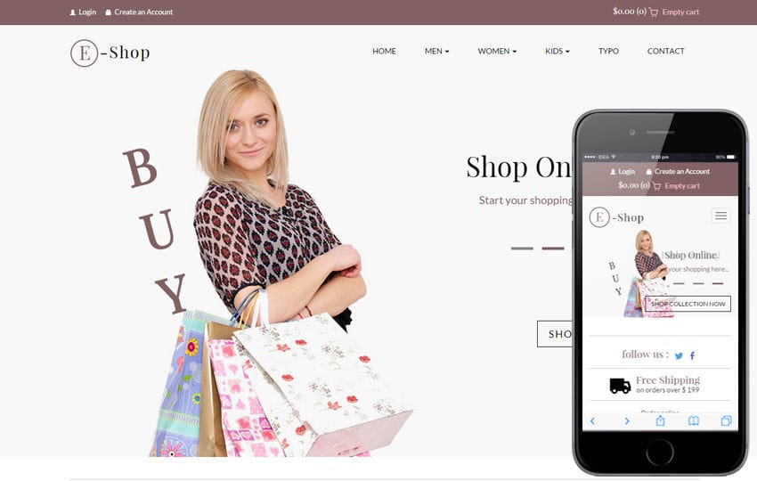 E Shop a Flat Ecommerce Bootstrap Responsive Web Template Mobile website template Free