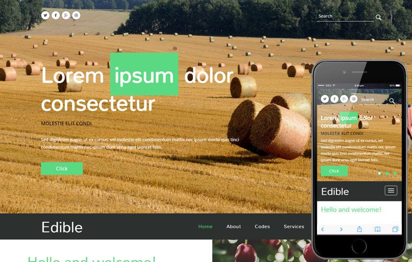 Edible a Agriculture Category Flat Bootstrap Responsive Web Template Mobile website template Free