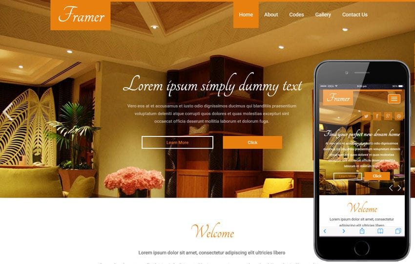 Framer a Interior Architects Multipurpose Flat Bootstrap Responsive Web Template Mobile website template Free