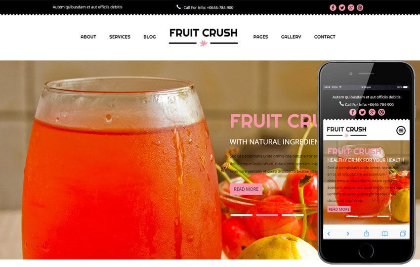 Fruit Crush a Hotel Category Flat Bootstrap Responsive Web Template Mobile website template Free