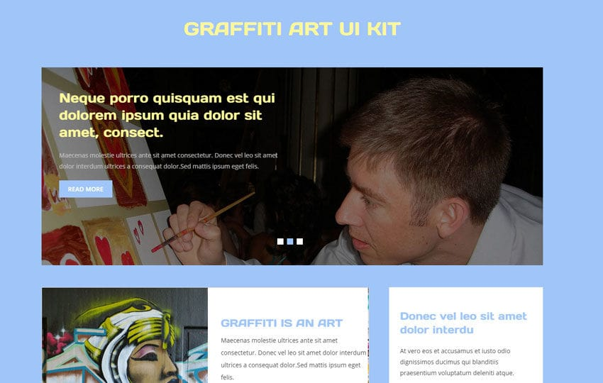 Graffiti Art UI Kit a Flat Bootstrap Responsive Web Template Mobile website template Free