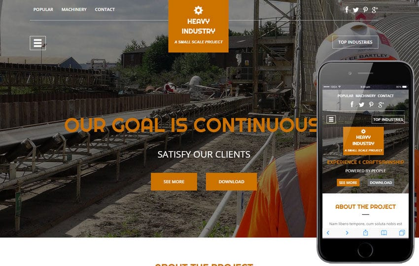 Heavy Industry a Industrial Category Flat Bootstrap Responsive Web Template Mobile website template Free