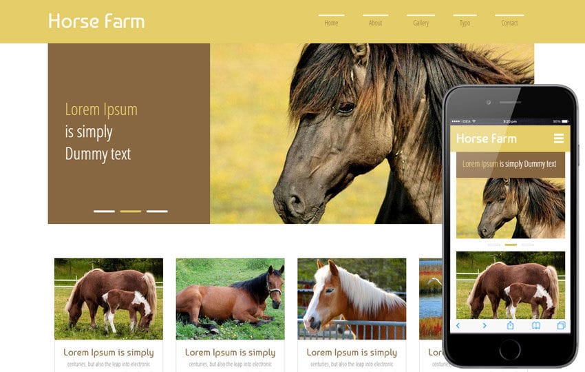 Horse Farm a Animals Category Flat Bootstrap Responsive Web Template