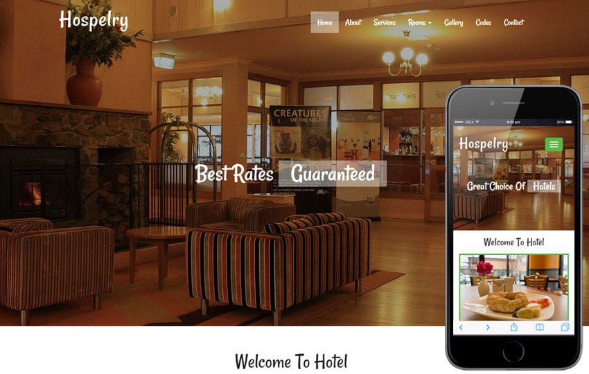 Hospelry a Hotel Category Flat Bootstrap Responsive Web Template Mobile website template Free