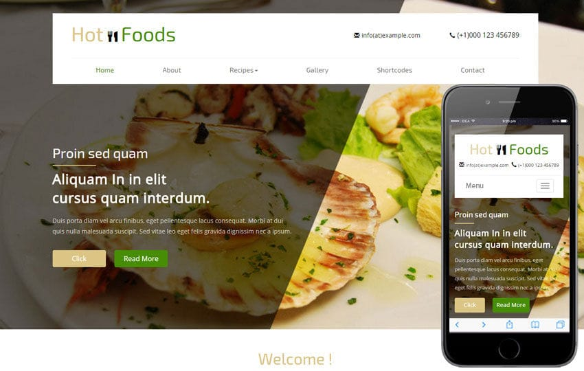 Hot Foods a Hotel Category Flat Bootstrap Responsive Web Template Mobile website template Free