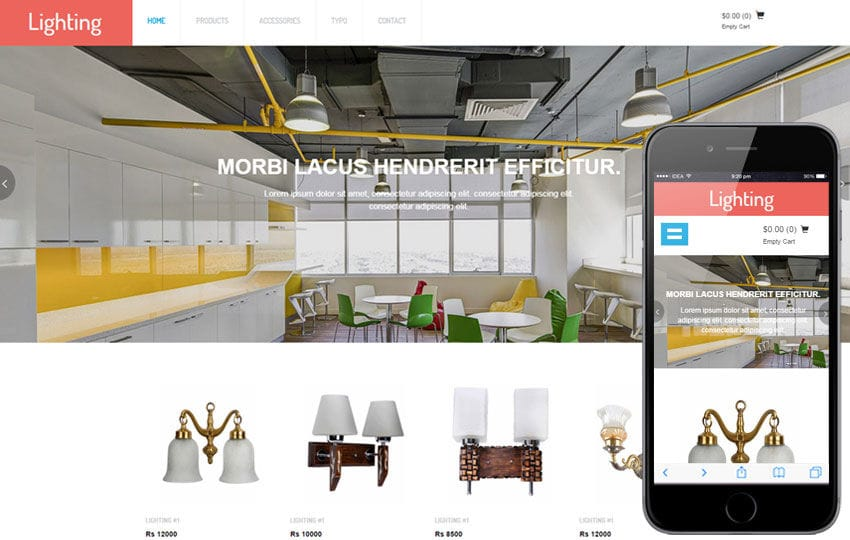Lighting a Flat Ecommerce Bootstrap Responsive Web Template Mobile website template Free