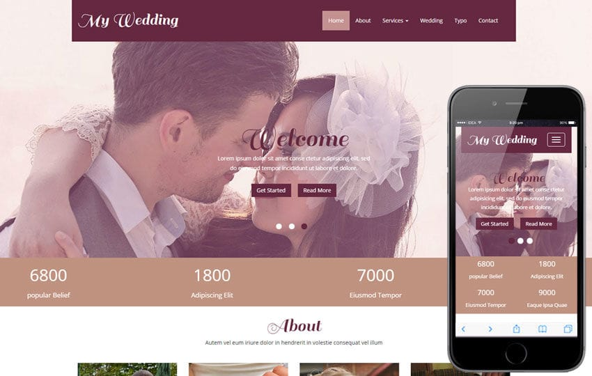 My Wedding a Wedding Planner Flat Bootstrap Responsive Web Template Mobile website template Free