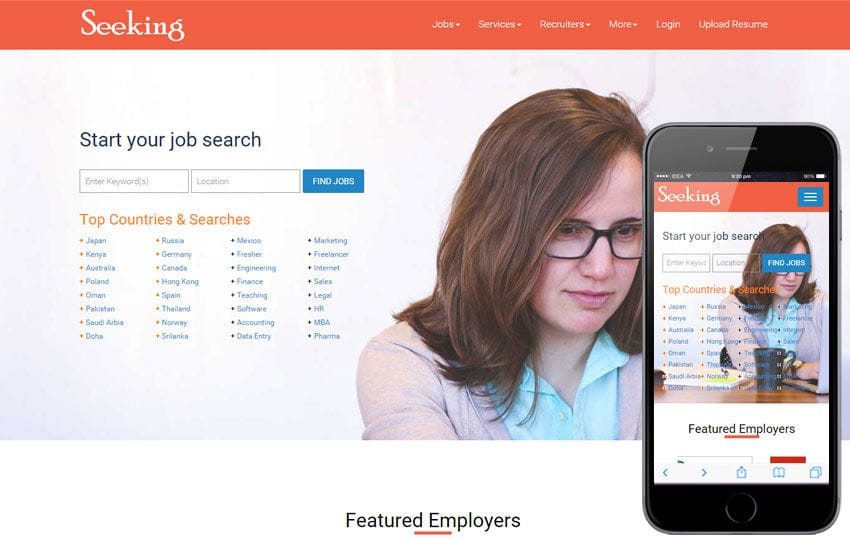 Seeking – Job Portal Website Template