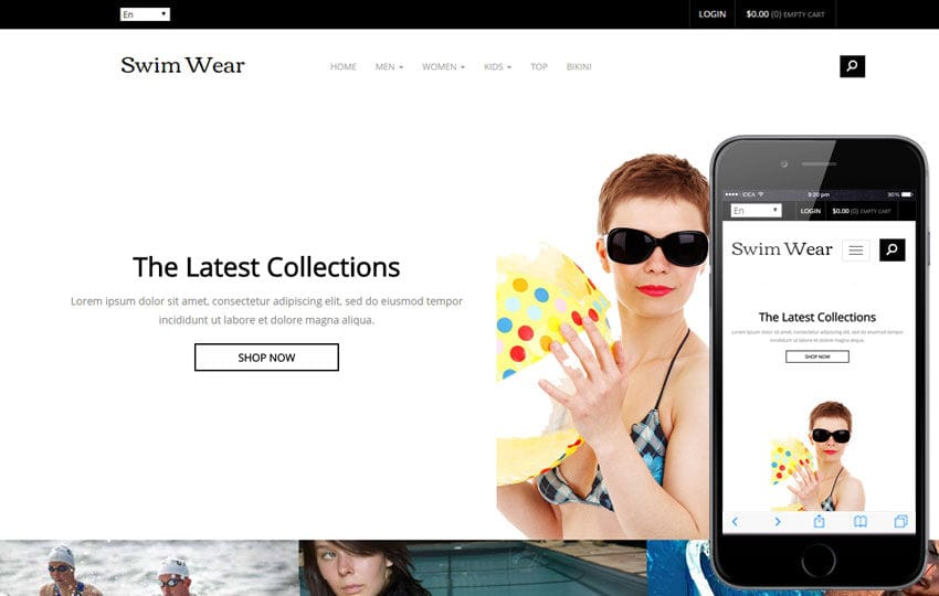 Swim Wear a Flat Ecommerce Bootstrap Responsive Web Template Mobile website template Free