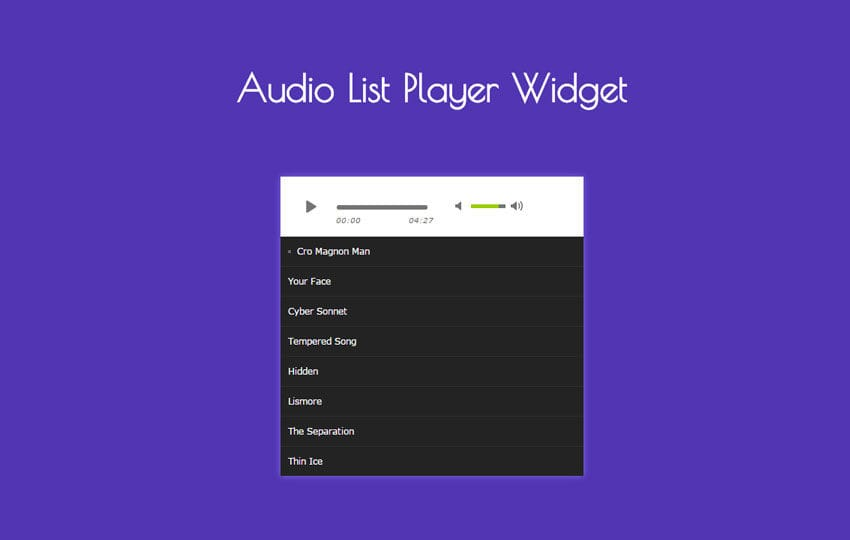 Audio List Player Responsive Widget Template