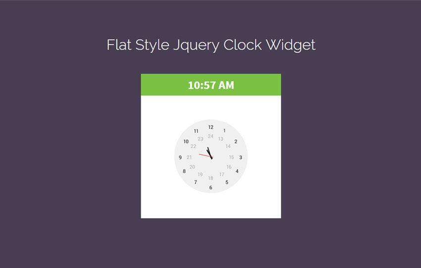 Flat Style Jquery Clock Widget Responsive Template