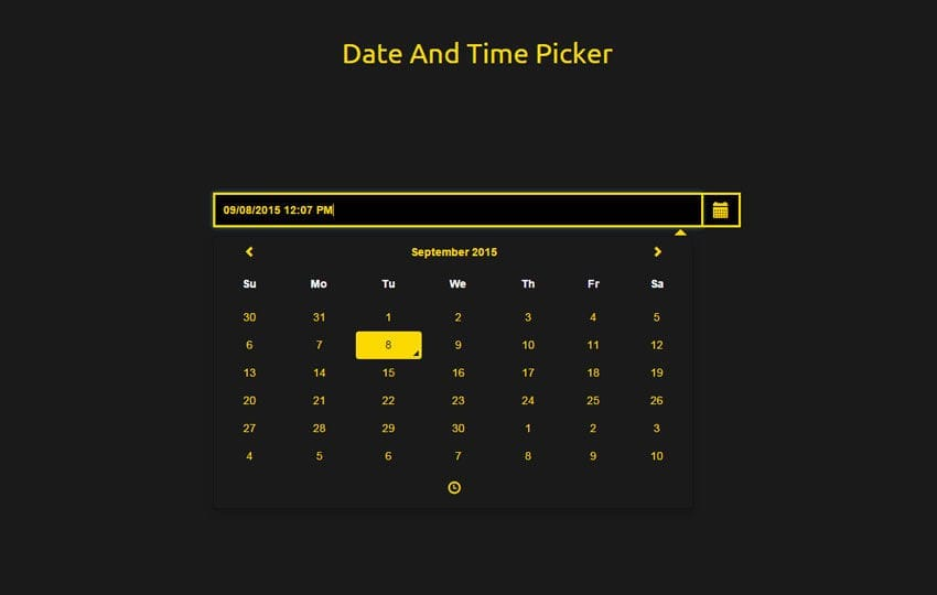 Date and Time Picker Responsive Widget Template