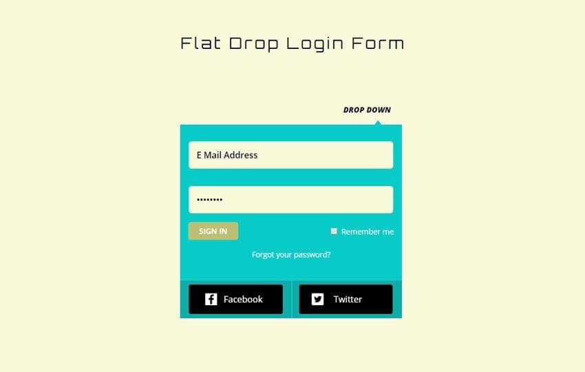Flat Drop Down Login Form Responsive Widget Template