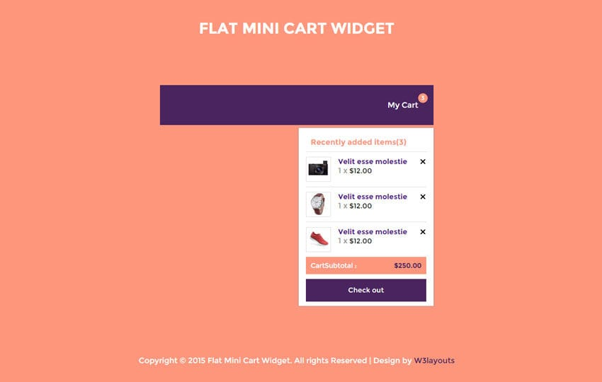Flat Mini Cart Responsive Widget Template
