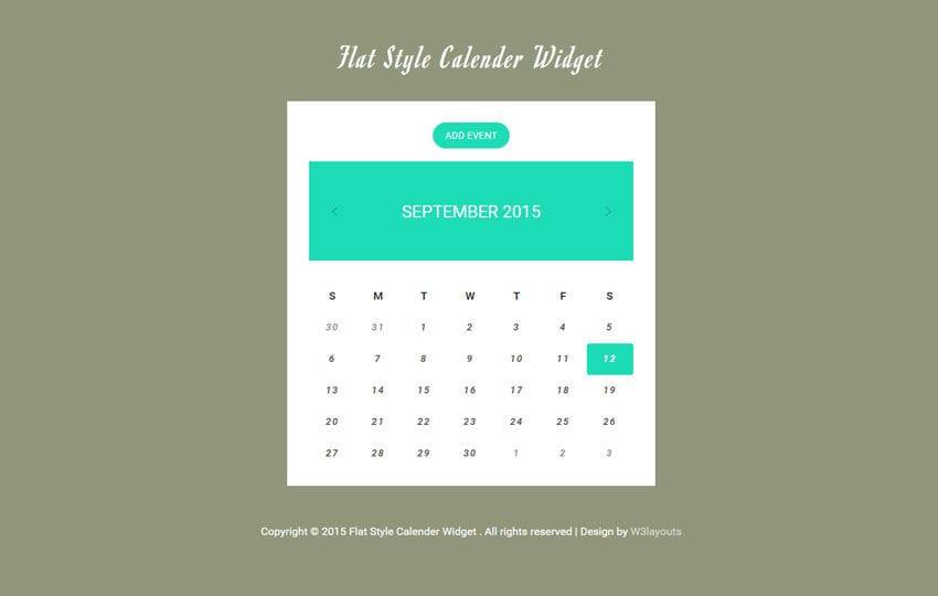 Flat Style Calendar Responsive Widget Template
