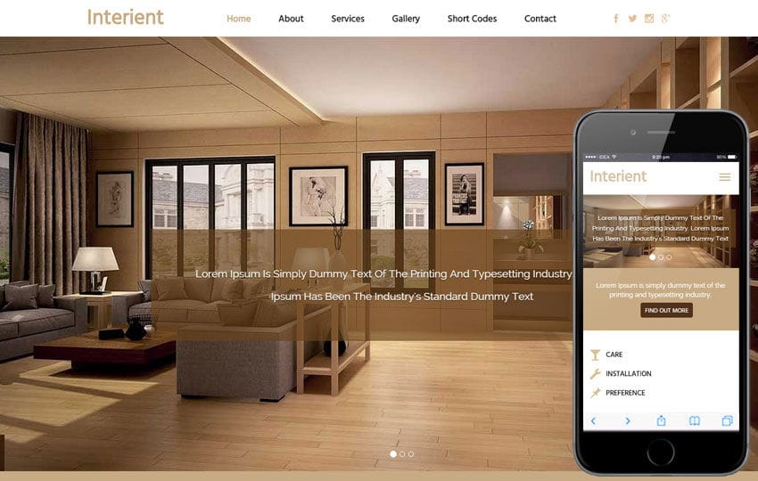 Interient a Interior Architects Flat Bootstrap Responsive Web Template Mobile website template Free