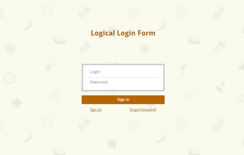 Logical Login Form Responsive Widget Template