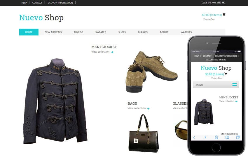 Nuevo Shop a Flat Ecommerce Bootstrap Responsive Web Template Mobile website template Free
