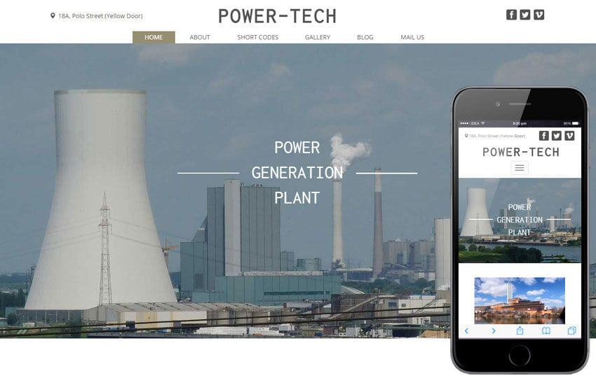 Power Tech a Industrial Category Flat Bootstrap Responsive Web Template Mobile website template Free
