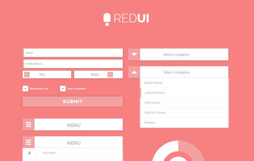 Red UI Kit a Flat Bootstrap Responsive Web Template Mobile website template Free