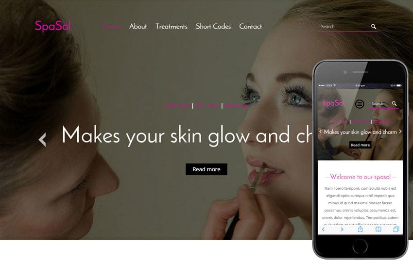 Spasol a Beauty and Spa Category Flat Bootstrap Responsive Web Template Mobile website template Free