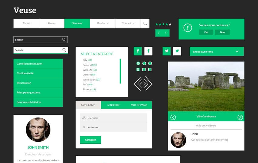 Veuse UI Kit a Flat Bootstrap Responsive Web Template Mobile website template Free