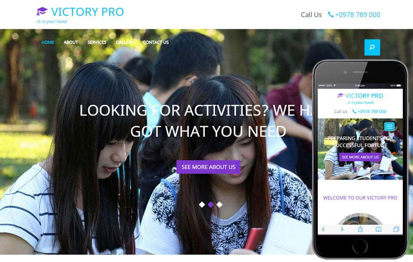 Victory Pro a Educational Category Flat Bootstrap Responsive web template