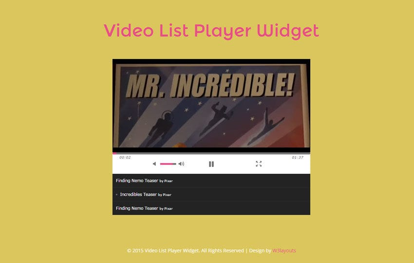 Video List Player Responsive Widget Template