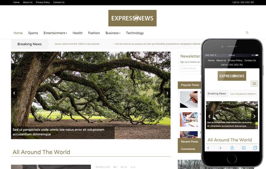 Express News a Entertainment Category Flat Bootstrap Responsive Web Template Mobile website template Free