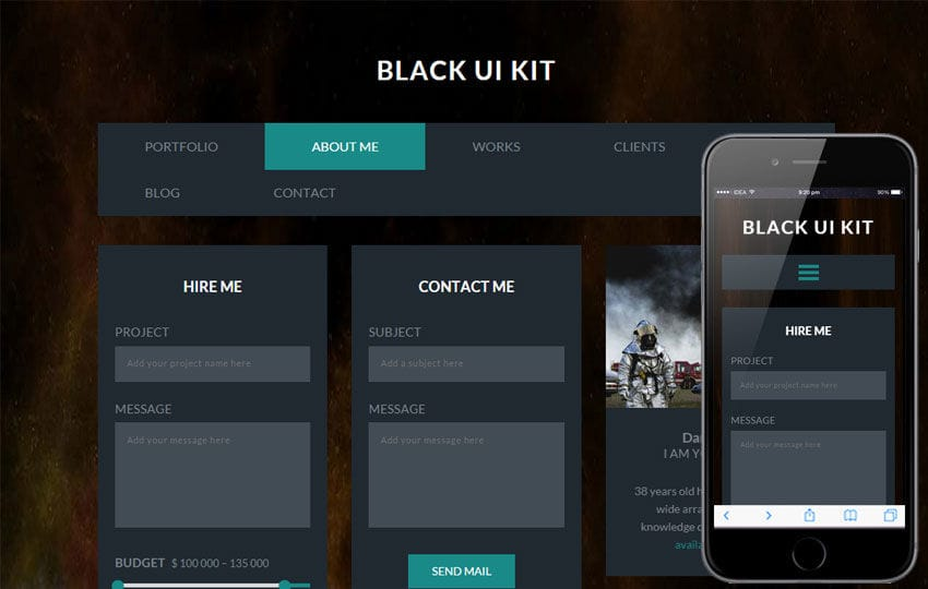 Black UI Kit a Flat Bootstrap Responsive Web Template Mobile website template Free