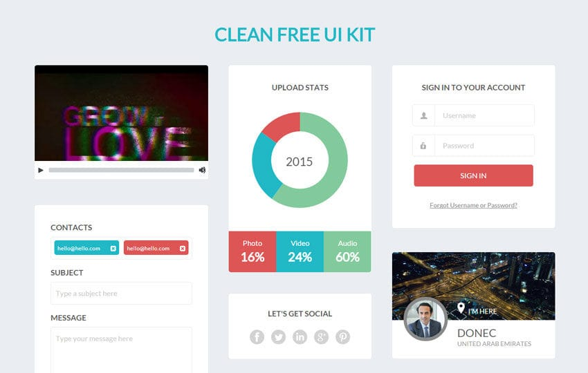 Clean Free UI Kit a Flat Bootstrap Responsive Web Template Mobile website template Free