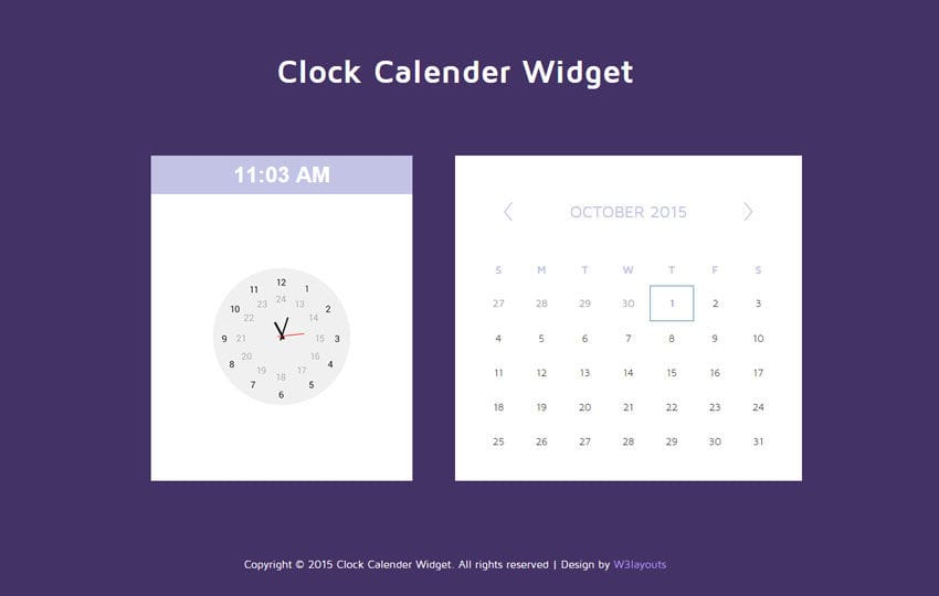 Clock Calendar Responsive Widget Template