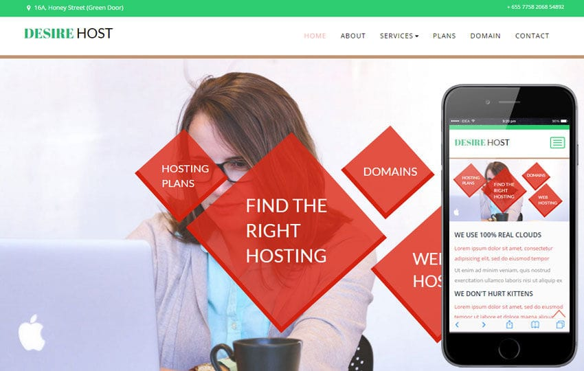 Desire Host a Web Hosting Flat Bootstrap Responsive Web Template Mobile website template Free