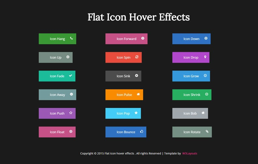 Flat Icon Hover Effects Responsive Widget Template
