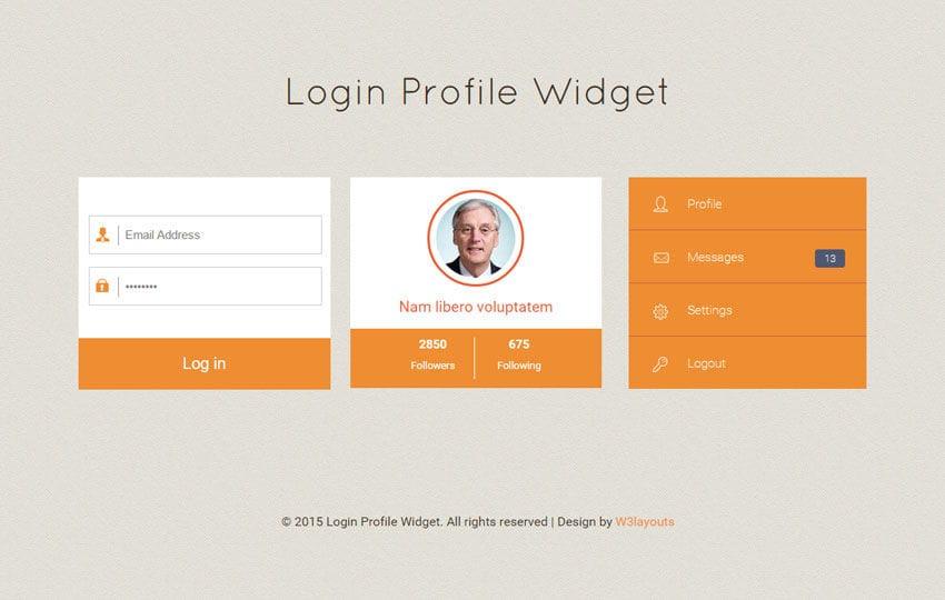 Login Profile Responsive Widget Template