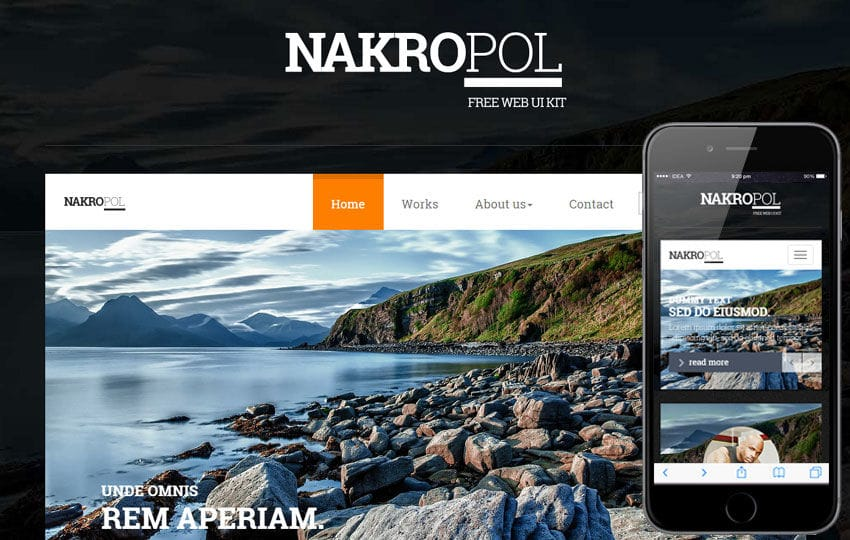 Nakropol UI Kit a Flat Bootstrap Responsive Web Template Mobile website template Free
