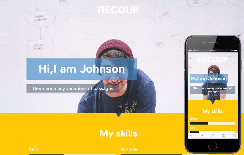 Recoup a Personal Portfolio Flat Bootstrap Responsive Web Template Mobile website template Free
