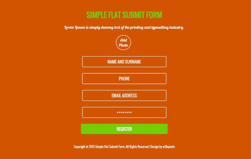 Simple Flat Submit Form Responsive Widget Template