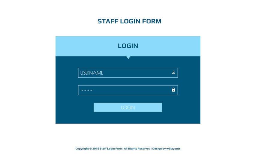 Staff Login Form Responsive Widget Template