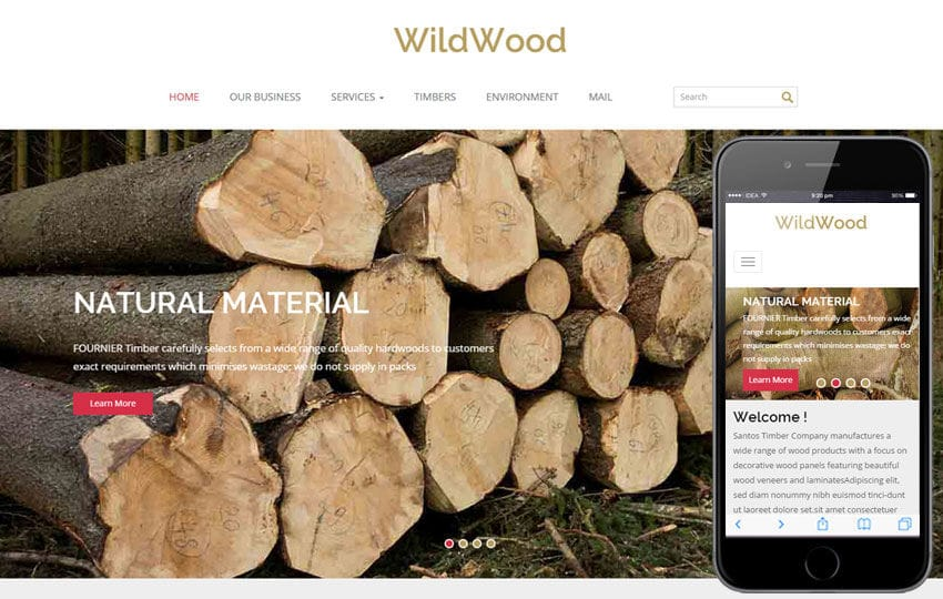 Wild Wood a Industrial Category Flat Bootstrap Responsive Web Template Mobile website template Free
