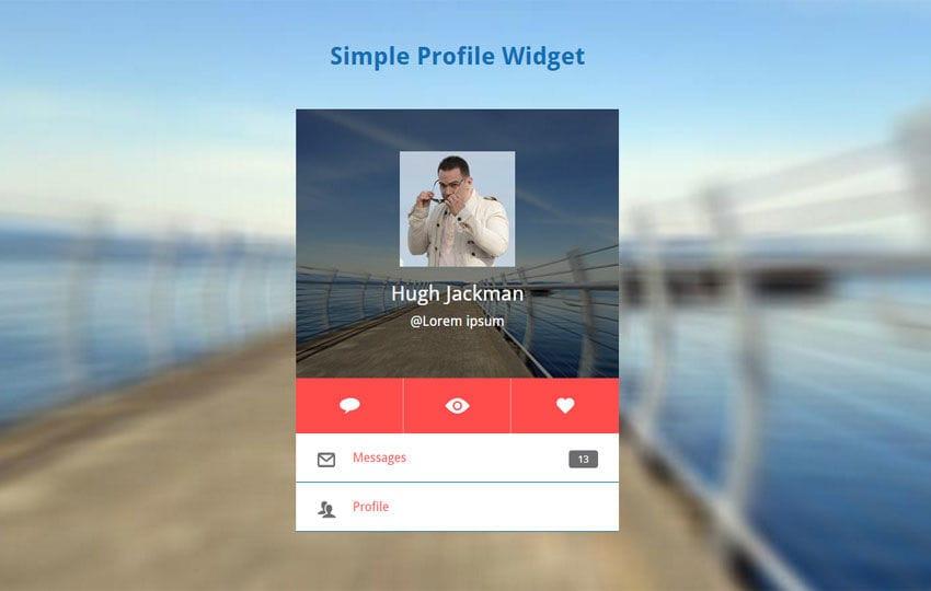 Simple Profile Widget Responsive Template